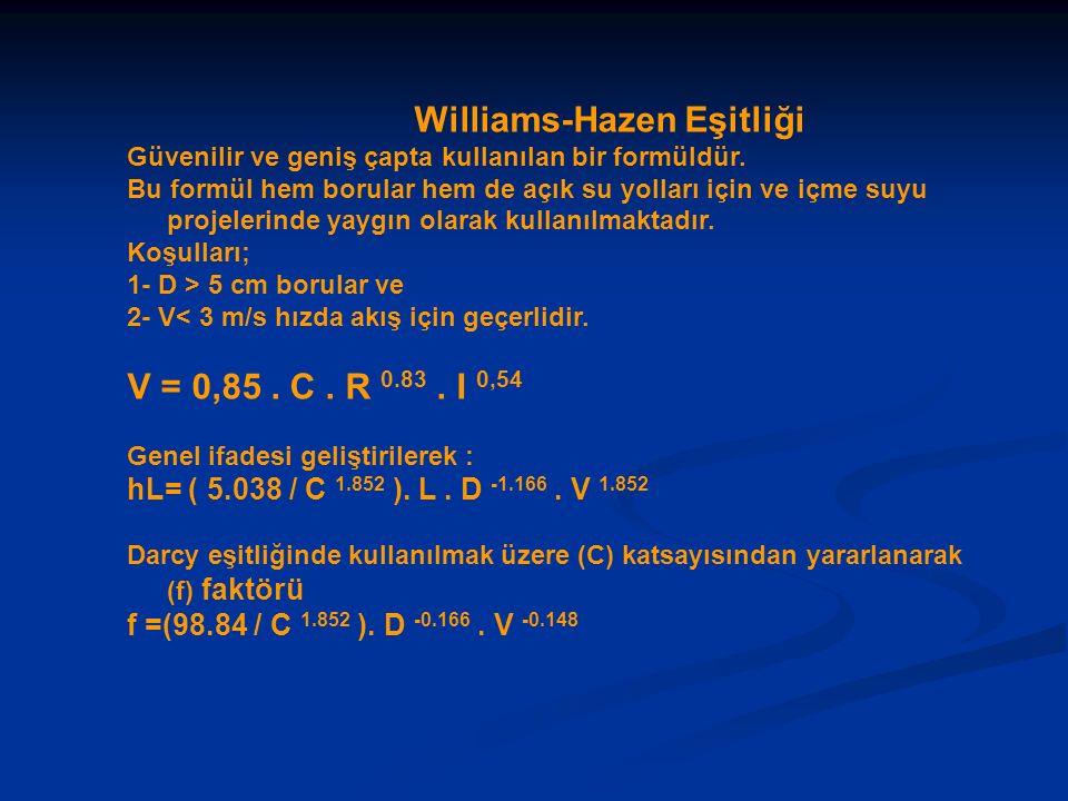 Williams-Hazen Eşitliği Güvenilir ve geniş çapta kullanılan bir formüldür. Bu formül hem borular hem de açık su yolları için ve içme suyu projelerinde