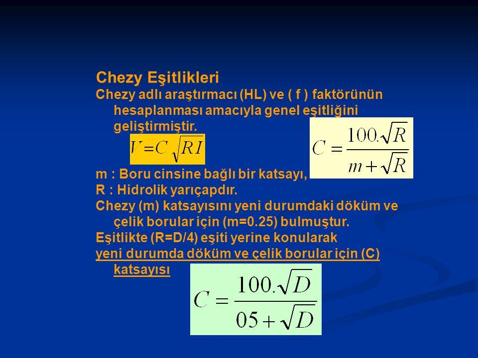 Chezy Eşitlikleri Chezy adlı araştırmacı (HL) ve ( f ) faktörünün hesaplanması amacıyla genel eşitliğini geliştirmiştir. m : Boru cinsine bağlı bir ka