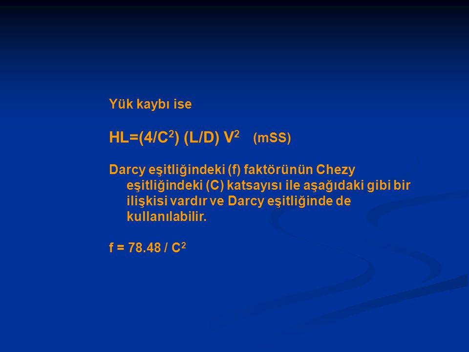 Yük kaybı ise HL=(4/C 2 ) (L/D) V 2 (mSS) Darcy eşitliğindeki (f) faktörünün Chezy eşitliğindeki (C) katsayısı ile aşağıdaki gibi bir ilişkisi vardır