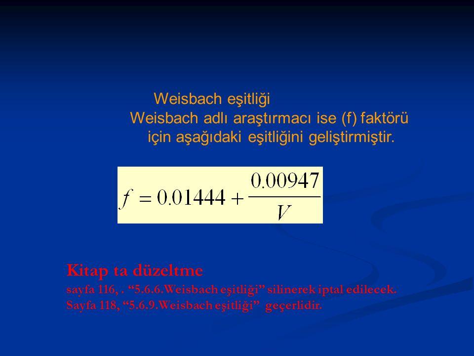"""Weisbach eşitliği Weisbach adlı araştırmacı ise (f) faktörü için aşağıdaki eşitliğini geliştirmiştir. Kitap ta düzeltme sayfa 116,. """"5.6.6.Weisbach eş"""