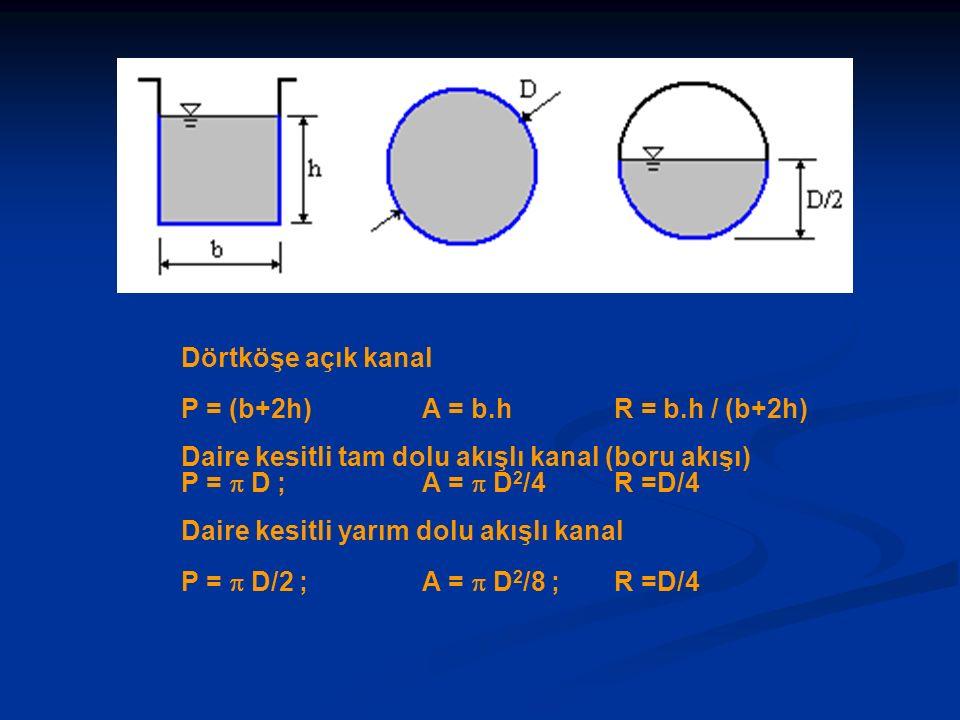 Dörtköşe açık kanal P = (b+2h) A = b.h R = b.h / (b+2h) Daire kesitli tam dolu akışlı kanal (boru akışı) P =  D ; A =  D 2 /4 R =D/4 Daire kesitli y