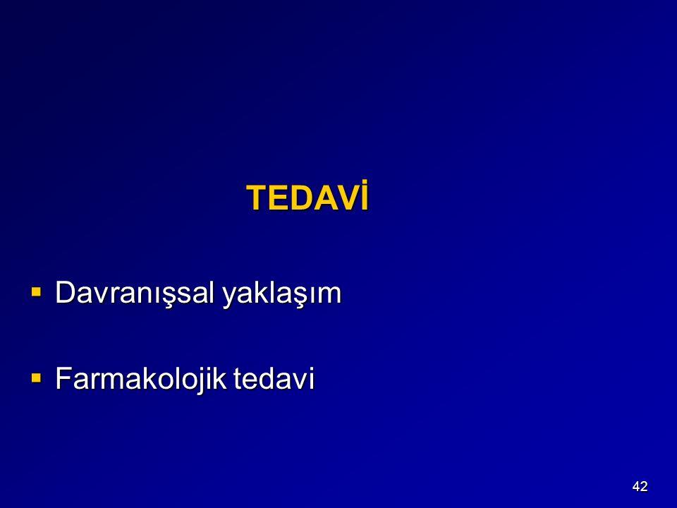 42 TEDAVİ TEDAVİ  Davranışsal yaklaşım  Farmakolojik tedavi