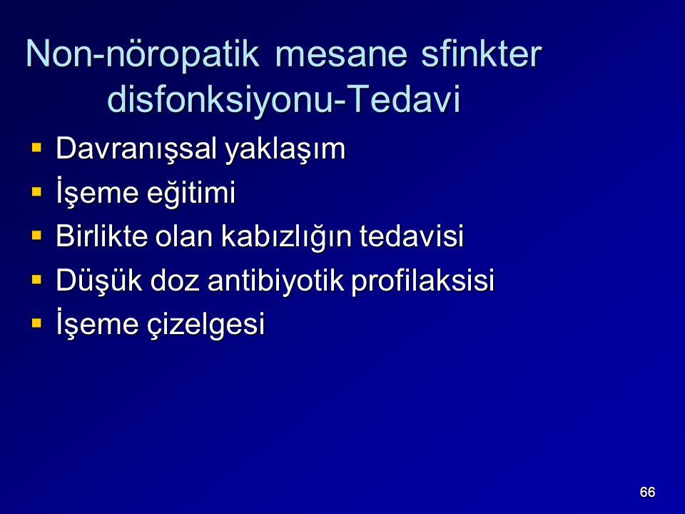 66 Non-nöropatik mesane sfinkter disfonksiyonu-Tedavi  Davranışsal yaklaşım  İşeme eğitimi  Birlikte olan kabızlığın tedavisi  Düşük doz antibiyot