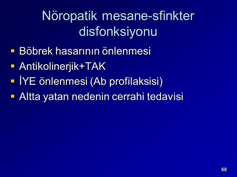 68 Nöropatik mesane-sfinkter disfonksiyonu  Böbrek hasarının önlenmesi  Antikolinerjik+TAK  İYE önlenmesi (Ab profilaksisi)  Altta yatan nedenin cerrahi tedavisi