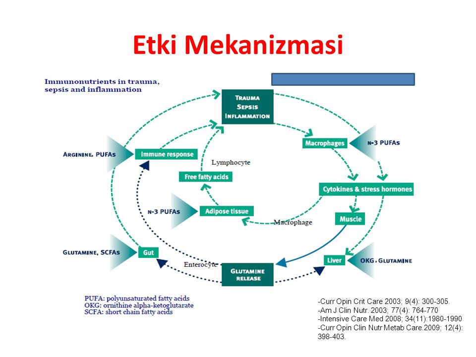 Etki Mekanizmasi -Curr Opin Crit Care 2003; 9(4): 300-305. -Am J Clin Nutr. 2003; 77(4): 764-770 -Intensive Care Med 2008; 34(11):1980-1990 -Curr Opin