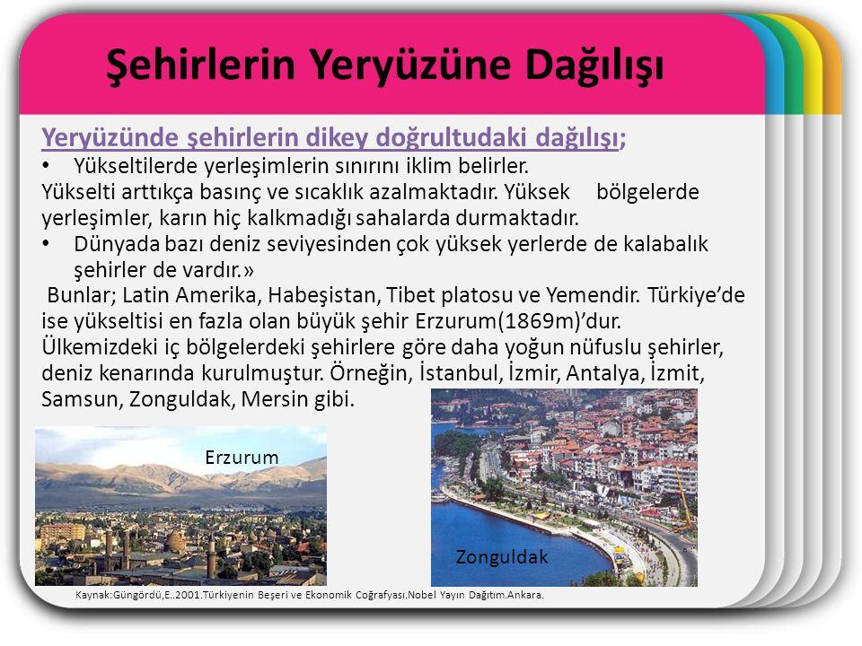 WINTER Template Şehirlerin Yeryüzüne Dağılışı Kaynak:Güngördü,E..2001.Türkiyenin Beşeri ve Ekonomik Coğrafyası.Nobel Yayın Dağıtım.Ankara.