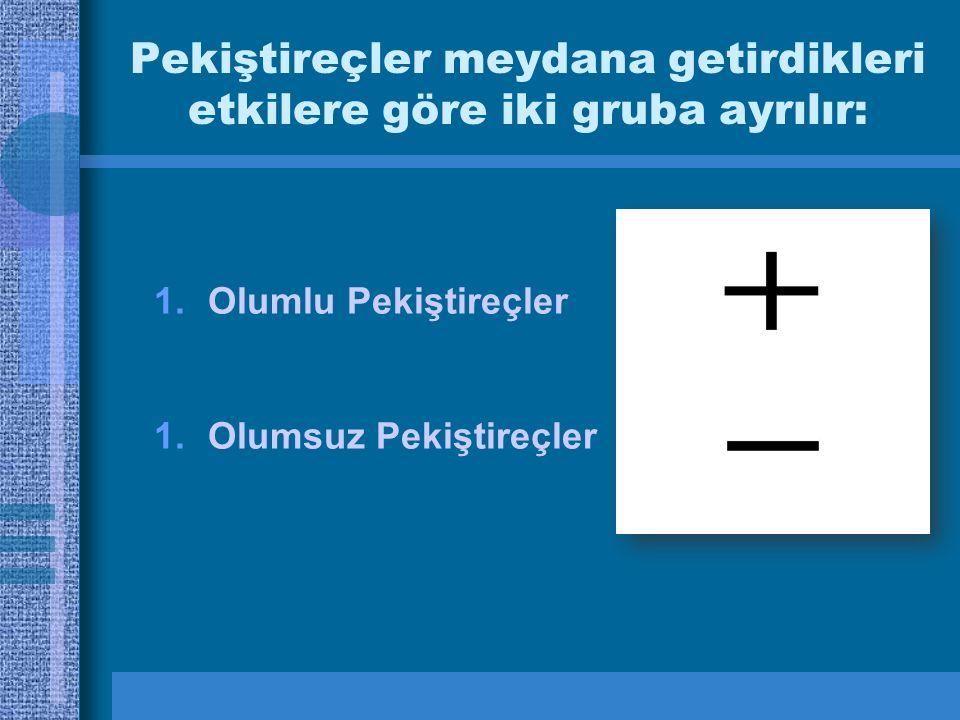 Pekiştireçler meydana getirdikleri etkilere göre iki gruba ayrılır: 1.Olumlu Pekiştireçler 1.Olumsuz Pekiştireçler