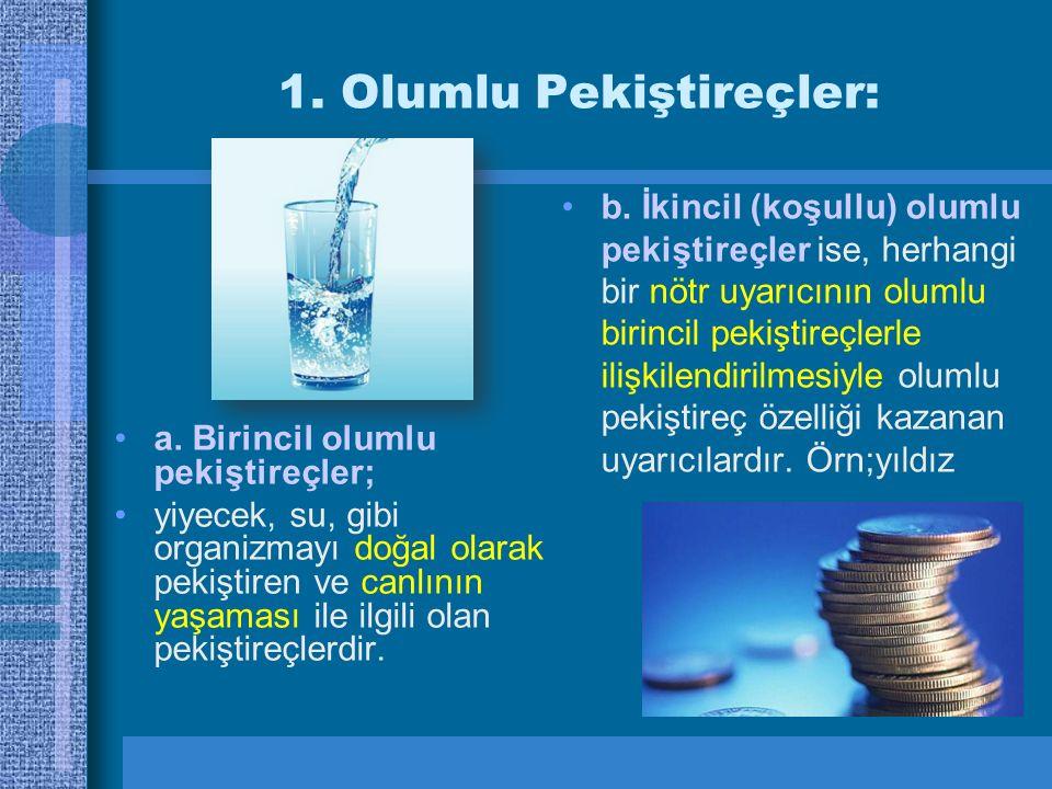 1. Olumlu Pekiştireçler: a. Birincil olumlu pekiştireçler; yiyecek, su, gibi organizmayı doğal olarak pekiştiren ve canlının yaşaması ile ilgili olan