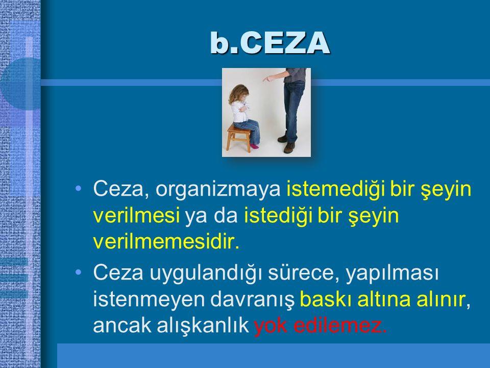 b.CEZA Ceza, organizmaya istemediği bir şeyin verilmesi ya da istediği bir şeyin verilmemesidir. Ceza uygulandığı sürece, yapılması istenmeyen davranı