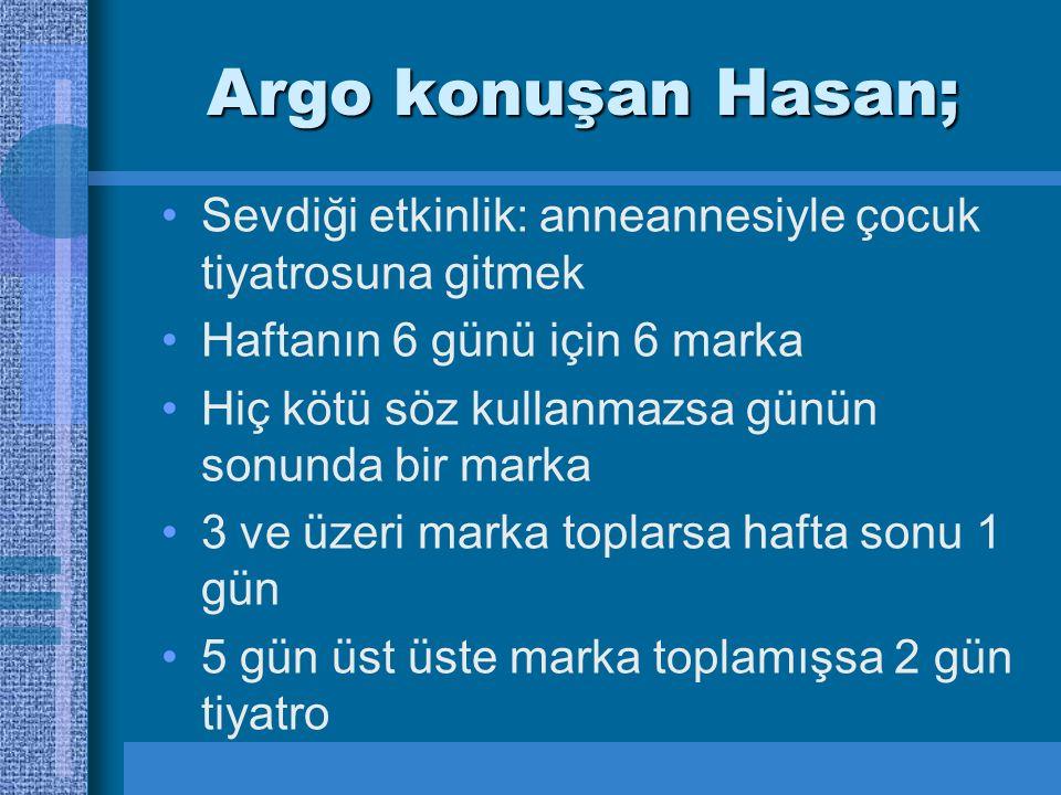 Argo konuşan Hasan; Sevdiği etkinlik: anneannesiyle çocuk tiyatrosuna gitmek Haftanın 6 günü için 6 marka Hiç kötü söz kullanmazsa günün sonunda bir marka 3 ve üzeri marka toplarsa hafta sonu 1 gün 5 gün üst üste marka toplamışsa 2 gün tiyatro