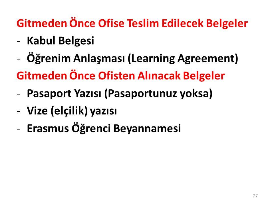 Gitmeden Önce Ofise Teslim Edilecek Belgeler -Kabul Belgesi -Öğrenim Anlaşması (Learning Agreement) Gitmeden Önce Ofisten Alınacak Belgeler -Pasaport