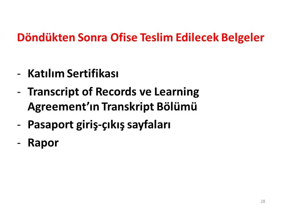 Döndükten Sonra Ofise Teslim Edilecek Belgeler -Katılım Sertifikası -Transcript of Records ve Learning Agreement'ın Transkript Bölümü -Pasaport giriş-çıkış sayfaları -Rapor 28