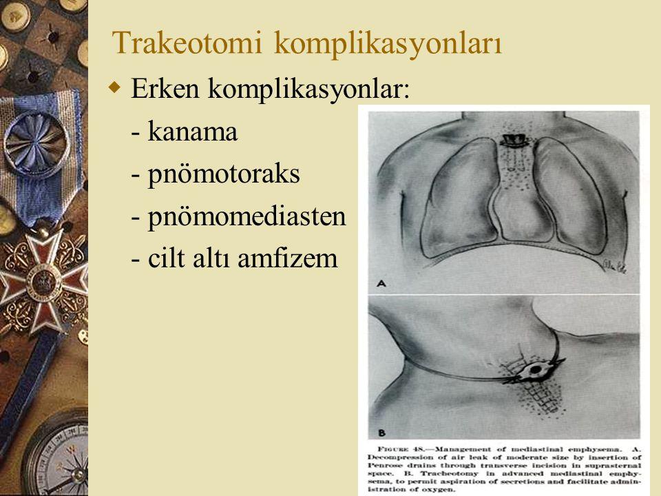 Trakeotomi komplikasyonları  Erken komplikasyonlar: - kanama - pnömotoraks - pnömomediasten - cilt altı amfizem