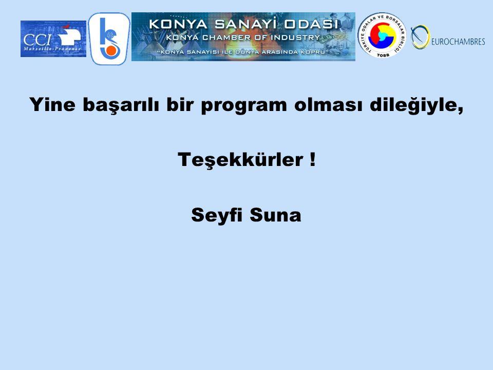 Yine başarılı bir program olması dileğiyle, Teşekkürler ! Seyfi Suna