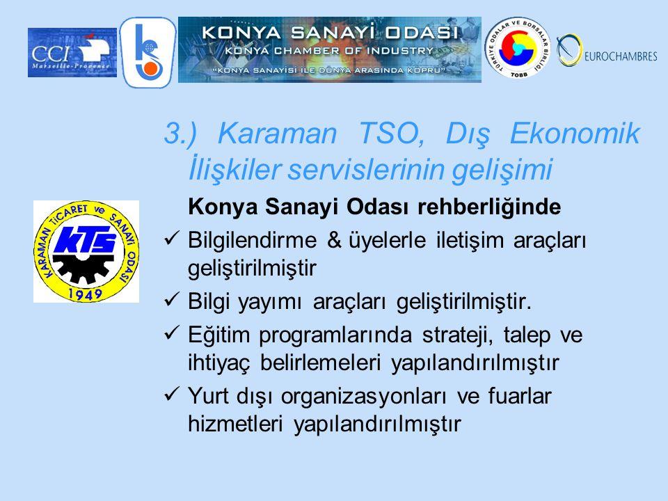 3.) Karaman TSO, Dış Ekonomik İlişkiler servislerinin gelişimi Konya Sanayi Odası rehberliğinde Bilgilendirme & üyelerle iletişim araçları geliştirilmiştir Bilgi yayımı araçları geliştirilmiştir.