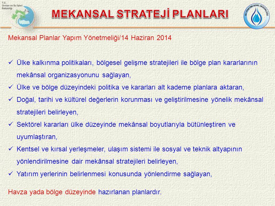 Mekansal Planlar Yapım Yönetmeliği/14 Haziran 2014 Ülke kalkınma politikaları, bölgesel gelişme stratejileri ile bölge plan kararlarının mekânsal organizasyonunu sağlayan, Ülke ve bölge düzeyindeki politika ve kararları alt kademe planlara aktaran, Doğal, tarihi ve kültürel değerlerin korunması ve geliştirilmesine yönelik mekânsal stratejileri belirleyen, Sektörel kararları ülke düzeyinde mekânsal boyutlarıyla bütünleştiren ve uyumlaştıran, Kentsel ve kırsal yerleşmeler, ulaşım sistemi ile sosyal ve teknik altyapının yönlendirilmesine dair mekânsal stratejileri belirleyen, Yatırım yerlerinin belirlenmesi konusunda yönlendirme sağlayan, Havza yada bölge düzeyinde hazırlanan planlardır.