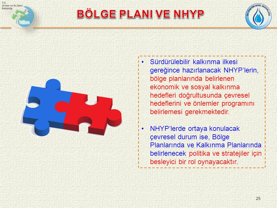 Sürdürülebilir kalkınma ilkesi gereğince hazırlanacak NHYP'lerin, bölge planlarında belirlenen ekonomik ve sosyal kalkınma hedefleri doğrultusunda çevresel hedeflerini ve önlemler programını belirlemesi gerekmektedir.