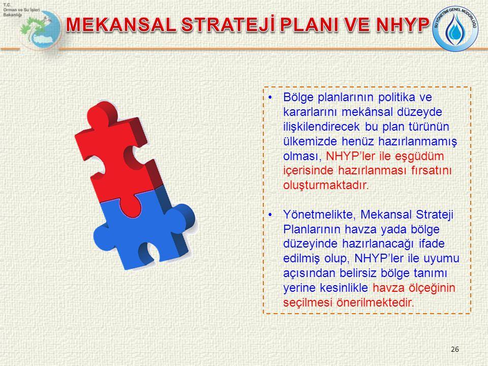 Bölge planlarının politika ve kararlarını mekânsal düzeyde ilişkilendirecek bu plan türünün ülkemizde henüz hazırlanmamış olması, NHYP'ler ile eşgüdüm içerisinde hazırlanması fırsatını oluşturmaktadır.
