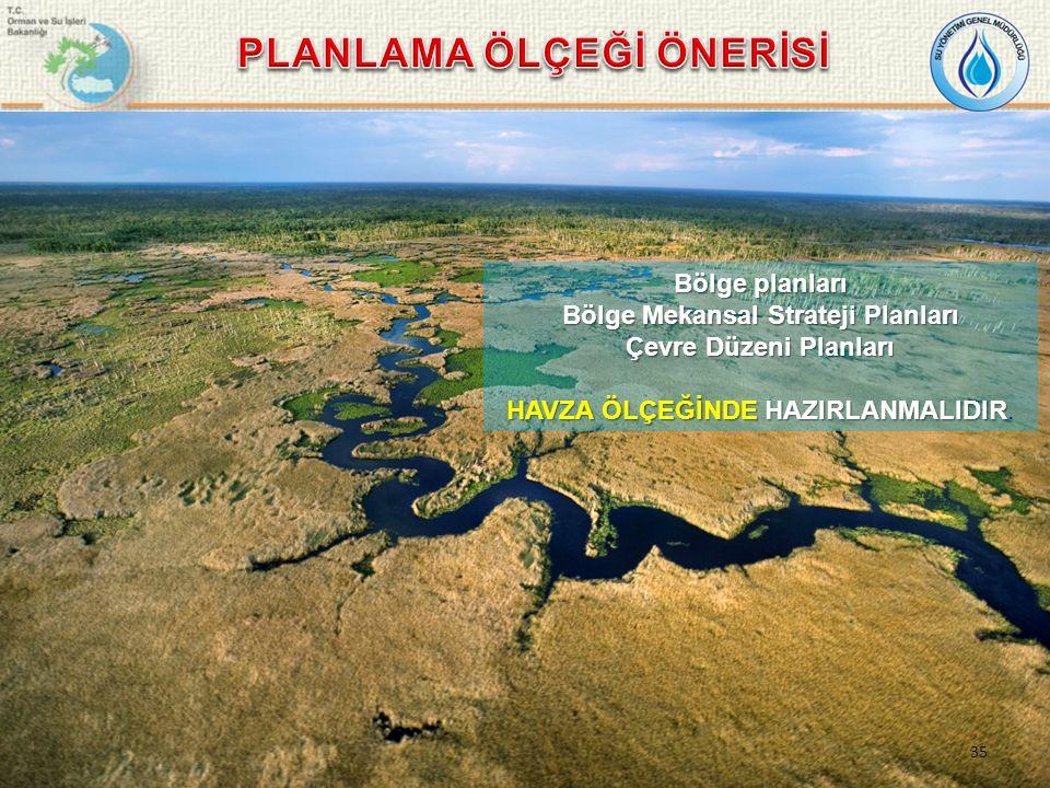 Bölge planları Bölge Mekansal Strateji Planları Çevre Düzeni Planları HAVZA ÖLÇEĞİNDE HAZIRLANMALIDIR HAVZA ÖLÇEĞİNDE HAZIRLANMALIDIR.