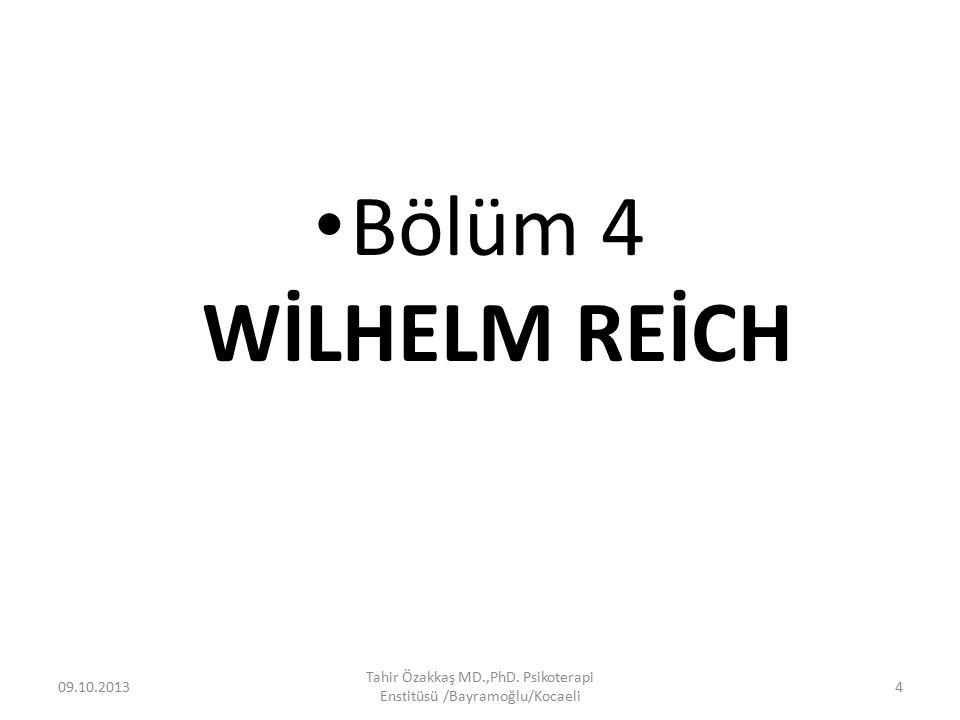 Bu bölümde, Wilhelm Reich'ın yaşamı ve çalışmaları hakkında psikobiyografik bir analiz yapılmaktadır.
