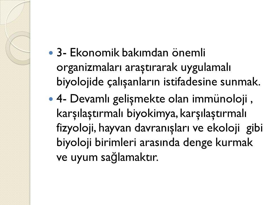 3- Ekonomik bakımdan önemli organizmaları araştırarak uygulamalı biyolojide çalışanların istifadesine sunmak.