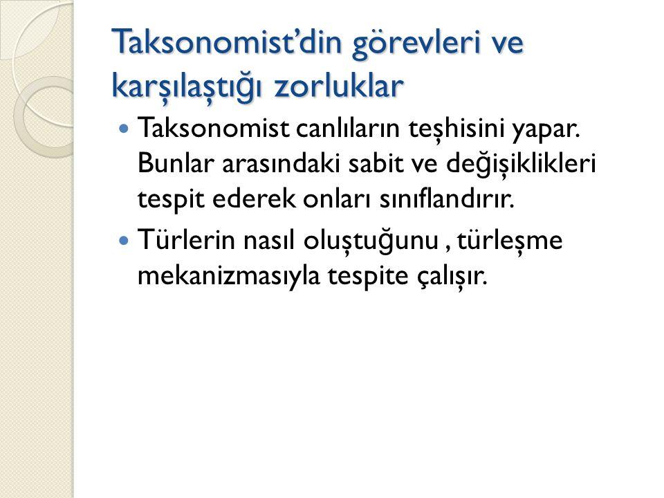Taksonomist'din görevleri ve karşılaştı ğ ı zorluklar Taksonomist canlıların teşhisini yapar.