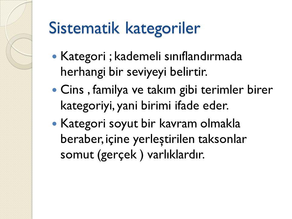 Sistematik kategoriler Kategori ; kademeli sınıflandırmada herhangi bir seviyeyi belirtir.