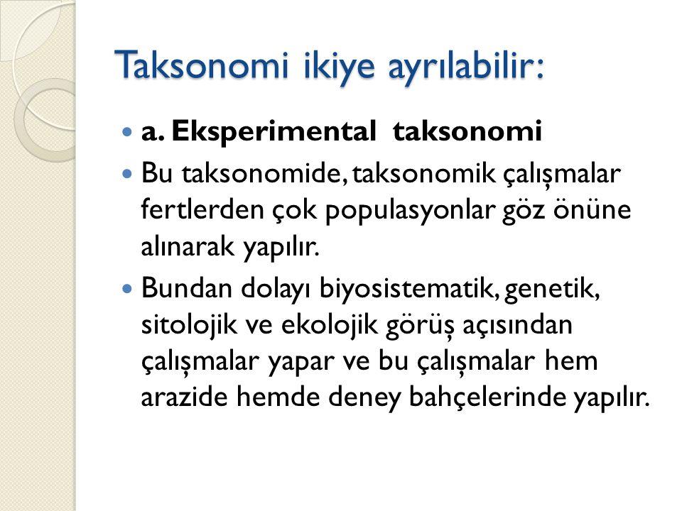 Taksonomi ikiye ayrılabilir: a.