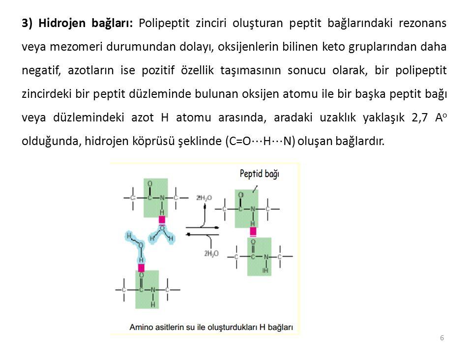 27 Hatırlatma 2: Yan zincirlerde yük olduğunda: Örnek lisin ve arginin Yüklerden dolayı itme çekmeler proteinlerin tersiyer yapılarını etkiler.