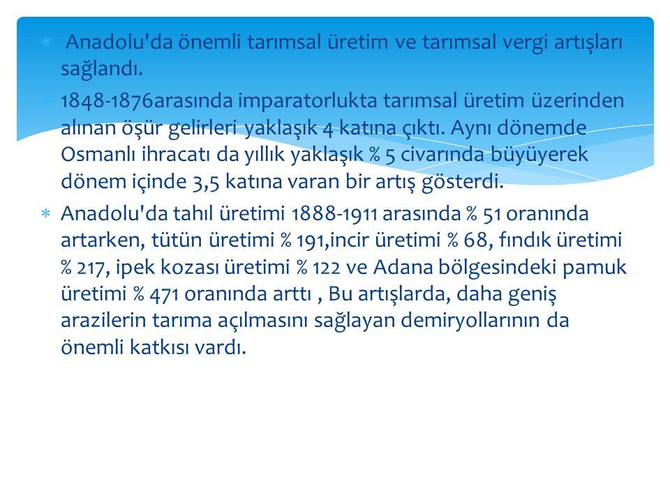  Anadolu'da önemli tarımsal üretim ve tarımsal vergi artışları sağlandı.  1848-1876arasında imparatorlukta tarımsal üretim üzerinden alınan öşür gel