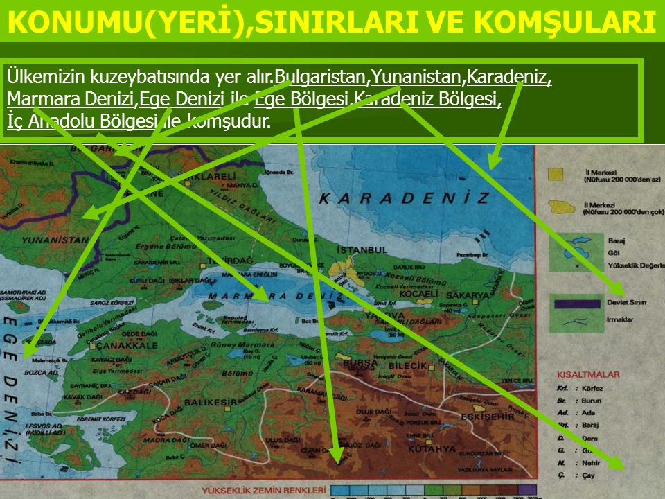 KONUMU(YERİ),SINIRLARI VE KOMŞULARI Ülkemizin kuzeybatısında yer alır.Bulgaristan,Yunanistan,Karadeniz, Marmara Denizi,Ege Denizi ile Ege Bölgesi,Kara