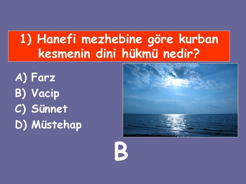 1) Hanefi mezhebine göre kurban kesmenin dini hükmü nedir? A)Farz B)Vacip C)Sünnet D)Müstehap B