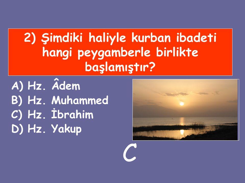 2) Şimdiki haliyle kurban ibadeti hangi peygamberle birlikte başlamıştır? A)Hz. Âdem B)Hz. Muhammed C)Hz. İbrahim D)Hz. Yakup C