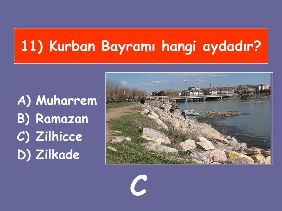 11) Kurban Bayramı hangi aydadır? A)Muharrem B)Ramazan C)Zilhicce D)Zilkade C