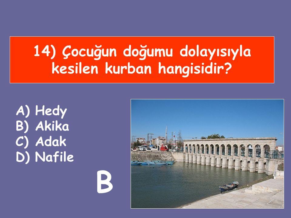 14) Çocuğun doğumu dolayısıyla kesilen kurban hangisidir? A)Hedy B)Akika C)Adak D)Nafile B