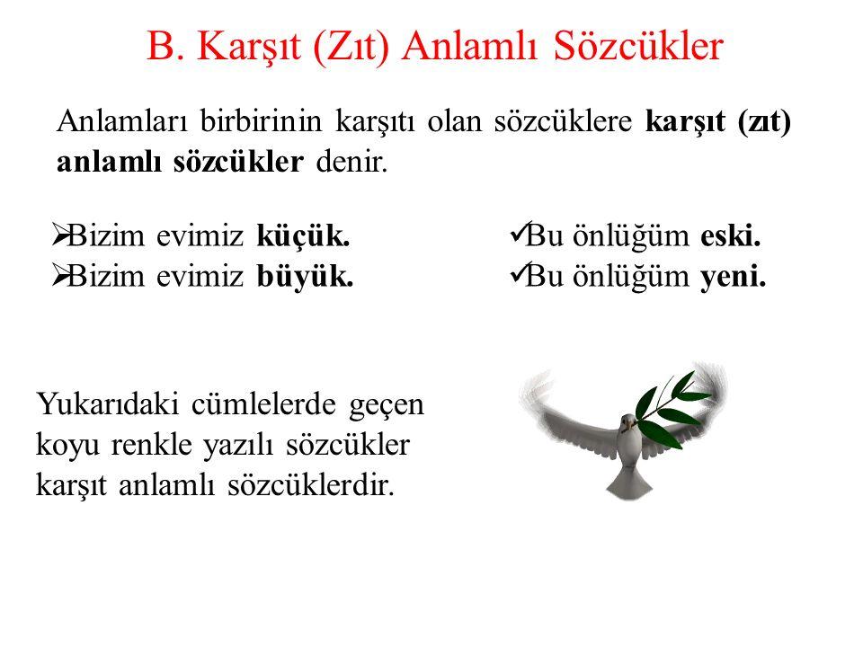 B. Karşıt (Zıt) Anlamlı Sözcükler Anlamları birbirinin karşıtı olan sözcüklere karşıt (zıt) anlamlı sözcükler denir. BB izim evimiz küçük. BB izim