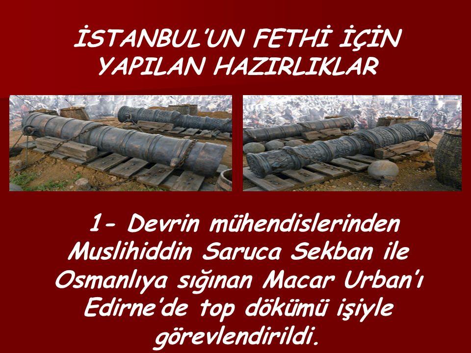 İSTANBUL'UN FETHİ İÇİN YAPILAN HAZIRLIKLAR 1- Devrin mühendislerinden Muslihiddin Saruca Sekban ile Osmanlıya sığınan Macar Urban'ı Edirne'de top dökümü işiyle görevlendirildi.