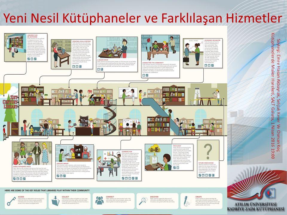 Söyleşi: Emre Hasan Akbayrak, Selçuk Keser Ve Osman Koç Kütüphanelerde Maker Hareketi, SALT Galata, 1 Nisan 2016 19:00 Yeni Nesil Kütüphaneler ve Farklılaşan Hizmetler