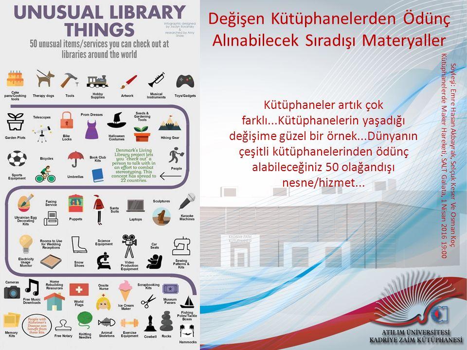 Söyleşi: Emre Hasan Akbayrak, Selçuk Keser Ve Osman Koç Kütüphanelerde Maker Hareketi, SALT Galata, 1 Nisan 2016 19:00 Maker Hareketi nedir.