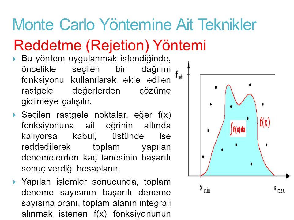 Monte Carlo Yöntemine Ait Teknikler  Bu yöntem uygulanmak istendiğinde, öncelikle seçilen bir dağılım fonksiyonu kullanılarak elde edilen rastgele de