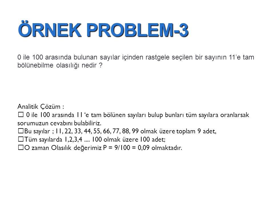 ÖRNEK PROBLEM-3 0 ile 100 arasında bulunan sayılar içinden rastgele seçilen bir sayının 11'e tam bölünebilme olasılığı nedir ? Analitik Çözüm :  0 il