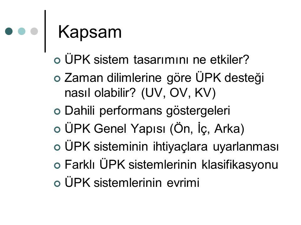 Kapsam ÜPK sistem tasarımını ne etkiler? Zaman dilimlerine göre ÜPK desteği nasıl olabilir? (UV, OV, KV) Dahili performans göstergeleri ÜPK Genel Yapı