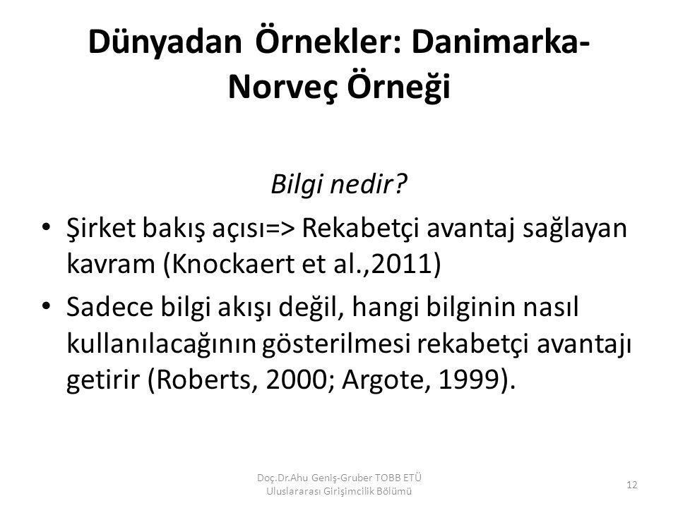 Dünyadan Örnekler: Danimarka- Norveç Örneği Bilgi nedir? Şirket bakış açısı=> Rekabetçi avantaj sağlayan kavram (Knockaert et al.,2011) Sadece bilgi a
