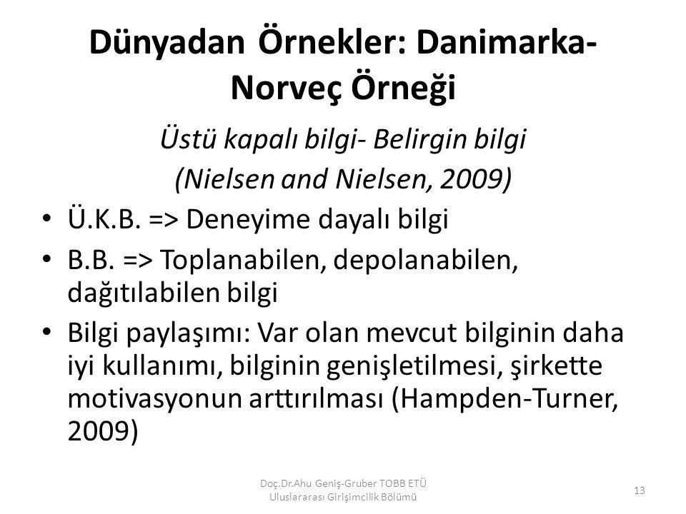 Dünyadan Örnekler: Danimarka- Norveç Örneği Üstü kapalı bilgi- Belirgin bilgi (Nielsen and Nielsen, 2009) Ü.K.B. => Deneyime dayalı bilgi B.B. => Topl