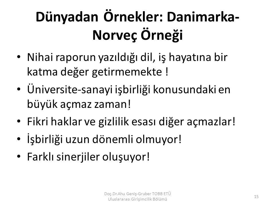Dünyadan Örnekler: Danimarka- Norveç Örneği Nihai raporun yazıldığı dil, iş hayatına bir katma değer getirmemekte ! Üniversite-sanayi işbirliği konusu