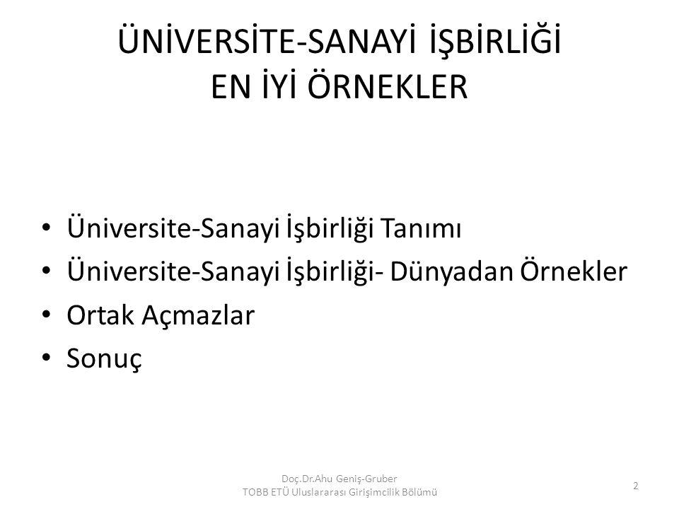 ÜNİVERSİTE-SANAYİ İŞBİRLİĞİ EN İYİ ÖRNEKLER Üniversite-Sanayi İşbirliği Tanımı Üniversite-Sanayi İşbirliği- Dünyadan Örnekler Ortak Açmazlar Sonuç Doç