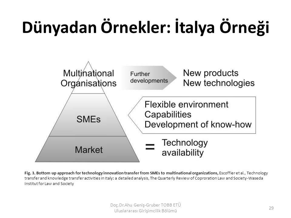 Dünyadan Örnekler: İtalya Örneği Doç.Dr.Ahu Geniş-Gruber TOBB ETÜ Uluslararası Girişimcilik Bölümü 29 Fig. 3. Bottom up approach for technology innova