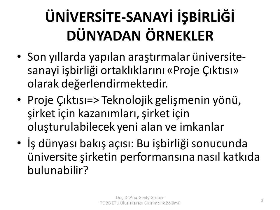ÜNİVERSİTE-SANAYİ İŞBİRLİĞİ DÜNYADAN ÖRNEKLER Son yıllarda yapılan araştırmalar üniversite- sanayi işbirliği ortaklıklarını «Proje Çıktısı» olarak değ