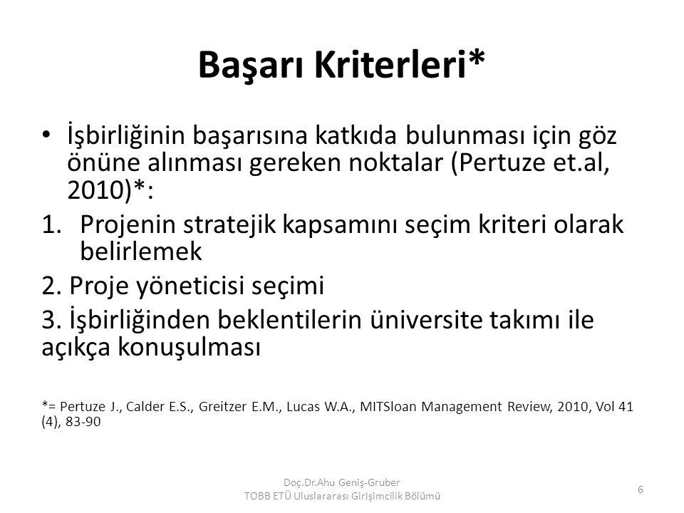 Başarı Kriterleri* İşbirliğinin başarısına katkıda bulunması için göz önüne alınması gereken noktalar (Pertuze et.al, 2010)*: 1.Projenin stratejik kap