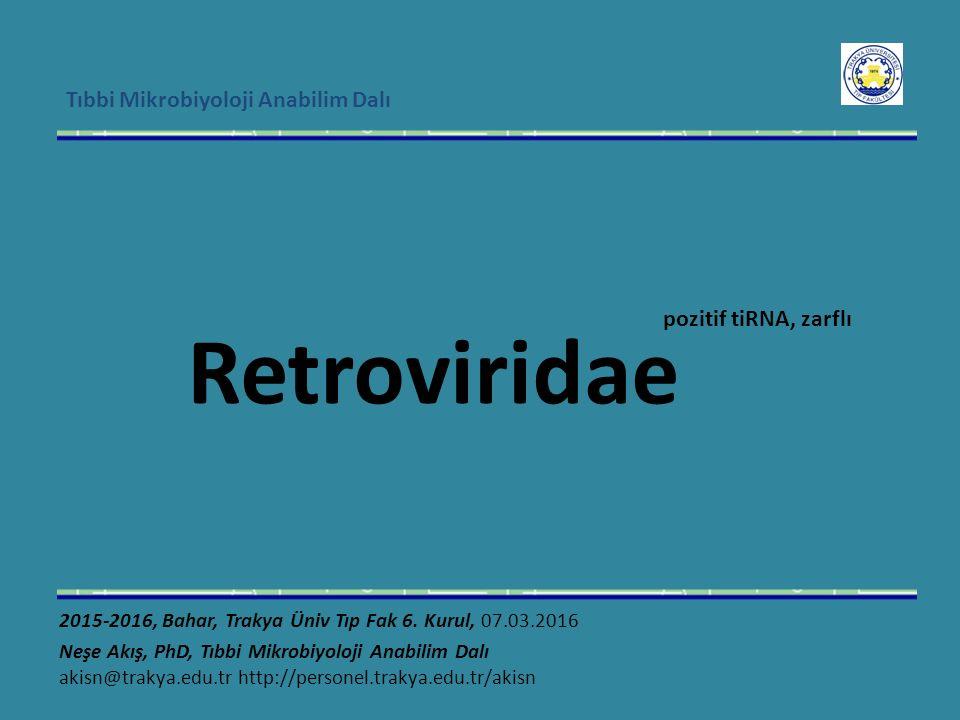 Tıbbi Mikrobiyoloji Anabilim Dalı Retroviridae pozitif tiRNA, zarflı 2015-2016, Bahar, Trakya Üniv Tıp Fak 6.